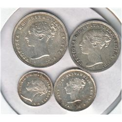 Great Britain 1877  Maundy Set Victoria 4-coin, EF to AU condition.  Some original lustre