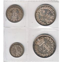 Great Britain 1882 Maundy Set Victoria young head 4-coin.  Beautiful toning, mint state