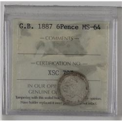 Great Britain 1887  6 Pence ICCS MS64. KM #757