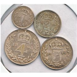 Great Britain 1896 Maundy Set Victoria 4-coin.  Original lustre, mint state