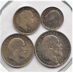 Great Britain 1908  Maundy Set Edward VII 4-coin. Lustrous toning, mint state