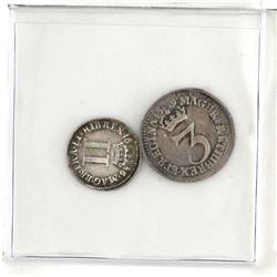Great Britain Maundy 1686 2 Pence, 1689 3 Pence. VG to Fine condition