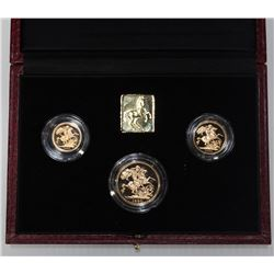1990 United Kingdom 3-coin Gold Proof sovereign Set. Includes 1/2 soveriegn,full sovereign and two p