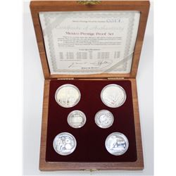 Mexico 1986 prestige proof sterling silver 6-coin set.  Comes with all original packaging.