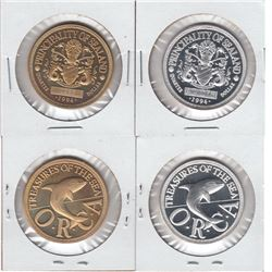 Sealand 1994 silver quarter dollar & 1994 bronze quarter dollar; Proof. Lot of 2 coins