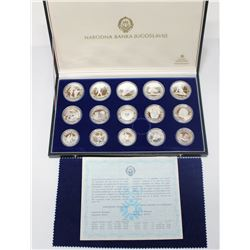 Yugoslavia  1984 Olympic sterling silver 15-coin set.  Comes with all original packaging including C
