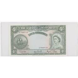 1953 Bahamas 4 Shillings.  S/N: 769712, AU to UNC