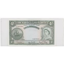 1953 Bahamas 4 Shillings.  S/N: 987905, EF to AU