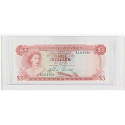 1965 Bahamas $3.  S/N: A164796, UNC