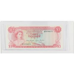 1968 Bahamas $3.  S/N: B379675, UNC