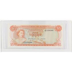 1968 Bahamas $5.  S/N: E229286, AU