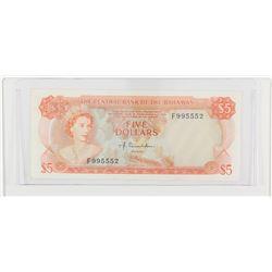 1974 Bahamas $5.  S/N: F995552, AU