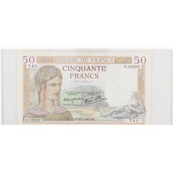 France 1940  50 Francs, Pick 85B, Very Fine condition.  Park of Versailes