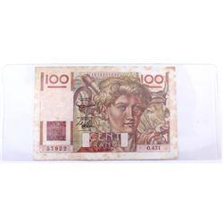1952 France 100 Francs.  S/N: 57922, EF(stain)