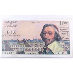 1961 France 10 Nouveaux Francs.  S/N: 32137, EF