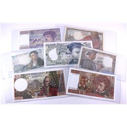 Lot of 7 x French banknotes.  Dates range from 1943 to 1984.  All notes are in VF or better conditio