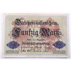 1914 Germany 50 Mark.  6 digit serial number, EF