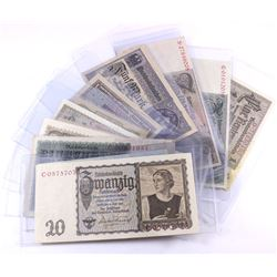 Group lot of 14 different German Banknotes ranging in date from 1917 to 1945.  All notes VF or highe