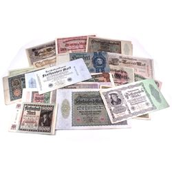 Group lot of 21 Large Sized German banknotes.  Dates range from 1910 to 1935.  Grades range from VG