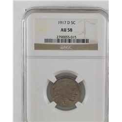 United States 1917D Buffalo five cent  NGC AU58