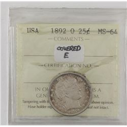 United States 1892O Covered E variety quarter dollar ICCS MS64