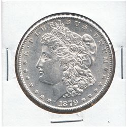United States Morgan $1 1879-S 3rd Reverse in UNC+ condition. A bright white coin.