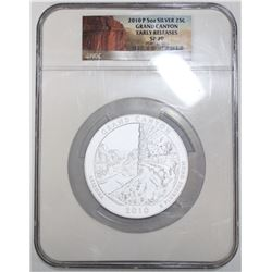 2010 USA quarter dollar Grand Canyon 5oz silver PCGS SP70.