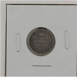 New Brunswick 1862 10-cent DP2 in VG-Fine Condition. A rare variety.