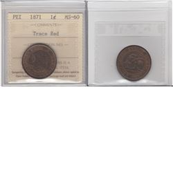 1871 PEI Large 1-cent ICCS Certified MS60 Trace Red.