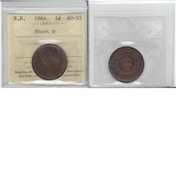 New Brunswick 1864 1-cent short '6' ICCS AU55