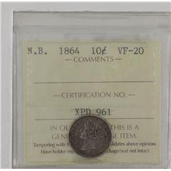 New Brunswick 1864 10-cent ICCS VF20