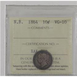 New Brunswick 1864 10-cent ICCS VG10
