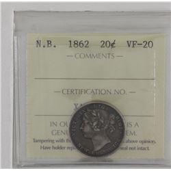 New Brunswick 1862 20-cent ICCS VF20