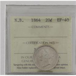 New Brunswick 1864 20-cent ICCS EF40