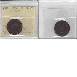Newfoundland 1-cent 1865 ICCS EF40