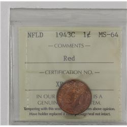 Newfoundland 1-cent 1943C ICCS Certified MS64 RED. A nice deep cherry Red/Orange.