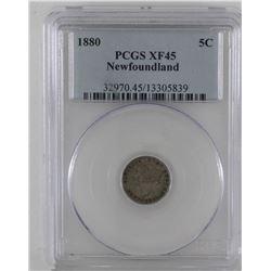 Newfoundland 5-cent 1880 silver PCGS XF45