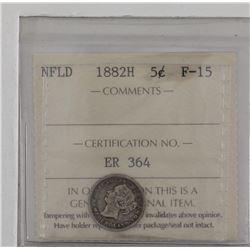 Newfoundland 5-cent 1882H silver ICCS F15