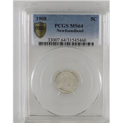 Newfoundland 5-cent 1908 silver PCGS Certified MS64. A choice blast white coin with exceptional marb