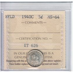 Newfoundland 5-cent 1940C ICCS Certified MS64. Soft satin fields with hints of golden brown toning.