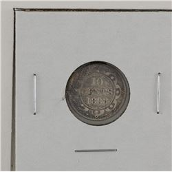 Newfoundland 10-cent 1888 in F-VF. Coin is lightly toned.