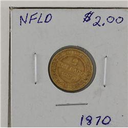 $2 Gold 1870 Newfoundland VF condition