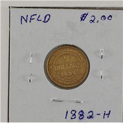 $2 Gold 1882H Newfoundland  F-VF condition