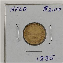 $2 Gold 1885 Newfoundland VF+ condition