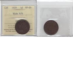 1-cent 1859 large  wide 9/8 variety ICCS VF20