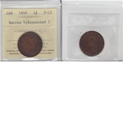 1-cent 1859 repunched 5 variety ICCS F15