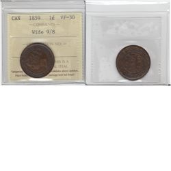 1-cent 1859 wide 9 over 8 ICCS VF30