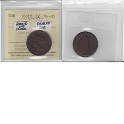 1-cent 1881H Round the Clock, Double Die; ICCS VF30