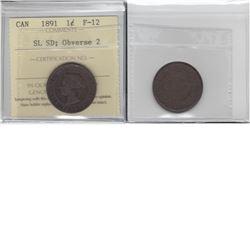 1-cent 1891 SL SD; obv 2 ICCS F12