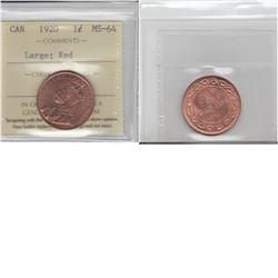 1-cent 1920 Large George V ICCS Certified MS64 RED.